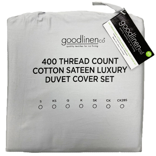 Pewter 400 Thread Count 100% Cotton Sateen Luxury Duvet Cover Set by Good Linen Co