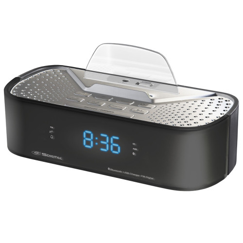 Bluetooth Black Alarm Clock Radio with USB Charging Station by S-Digital