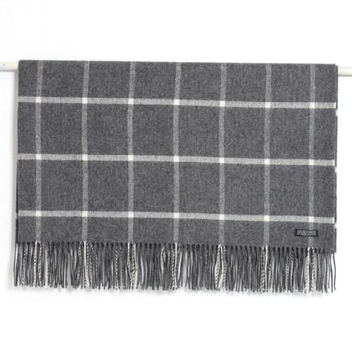 Charcoal with White Check Lambswool Throw by Foxford