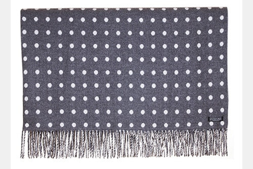 Charcoal with White Spot Lambswool Throw by Foxford