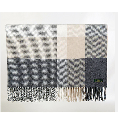 Dobby Check Cashmere Wool Throw by Foxford