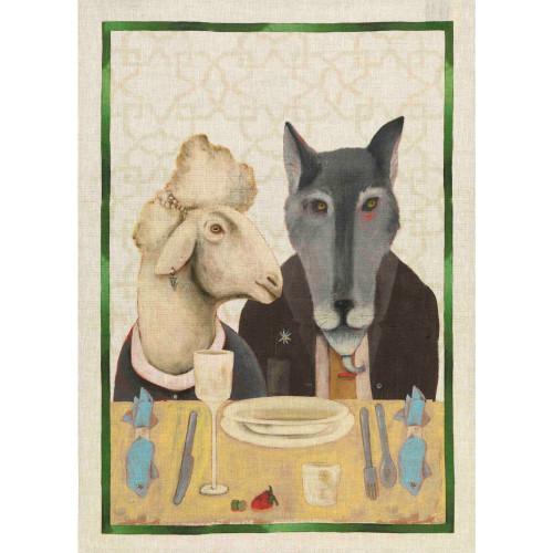 Sheep & Wolf 100% Linen Tea Towel by Tessitura Toscana Telerie