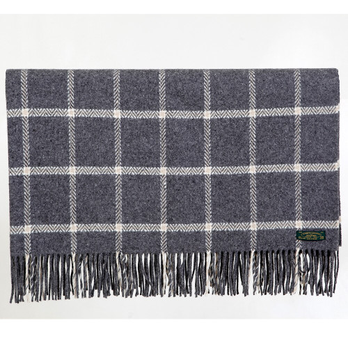 Charcoal Check Cashmere Wool Throw by Foxford