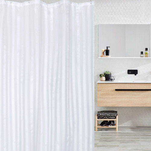 Commercial White Self Striped Shower Curtain (120 x 180cm)