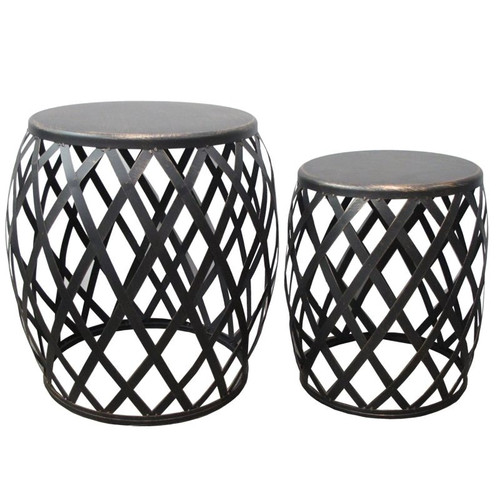 Lamai Set of 2 Side Tables by Le Forge