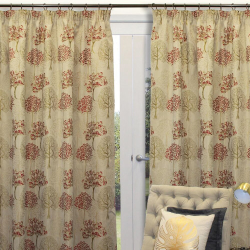 Botanica Lined Jacquard Pencil Pleat Readymade Curtains by Filigree