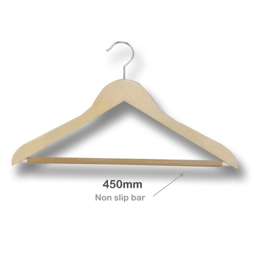 Wooden Hanger with Nonslip Bar