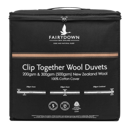 Wool All Seasons Clip Together Duvet Inner by Fairydown