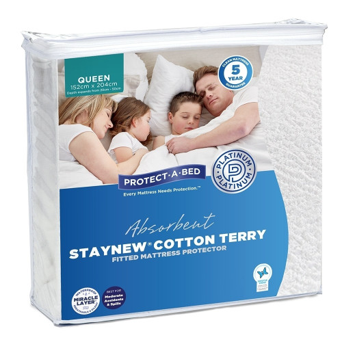 StayNew Cotton Terry Fitted Waterproof Mattress Protector by Protect-A-Bed