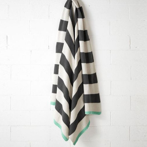 Charcoal / Mint Striped Knit Throw by Aura