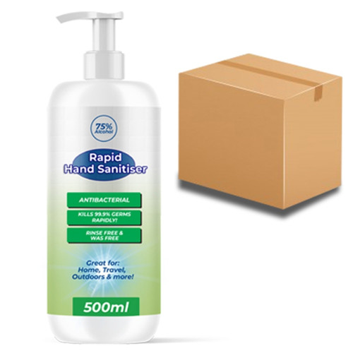 75% Alcohol Rapid Hand Sanitiser 500ml Pump (Box of 24)