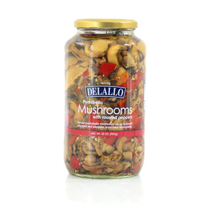 DeLallo Portabello Mushrooms and Red Peppers 32 oz.