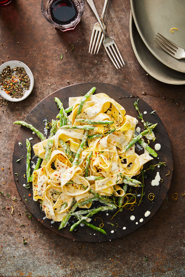 Pappardelle Pasta with Goat Cheese, Lemon and Asparagus