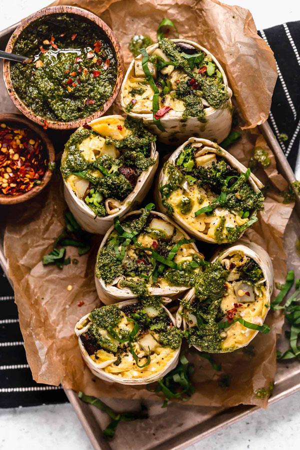 Roasted Broccoli & Potato Breakfast Burritos with Pesto & Cheese