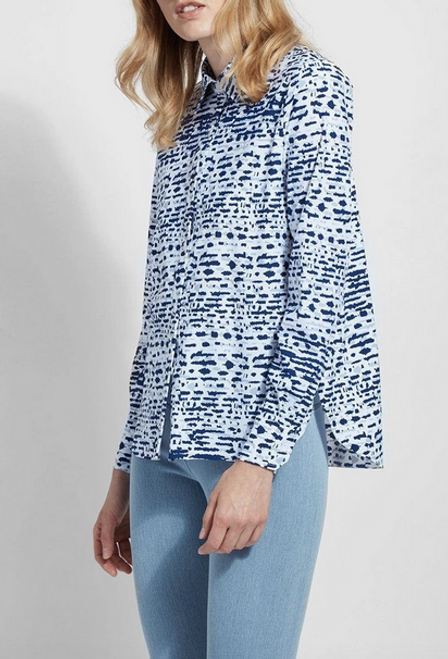 LYSSE CONNIE SLIM BUTTON DOWN PRINTED SPLATTER 02