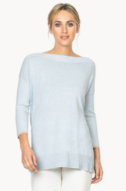 LILLA P RIBBED SLEEVE SLITNECK SWEATER 1066 POOL