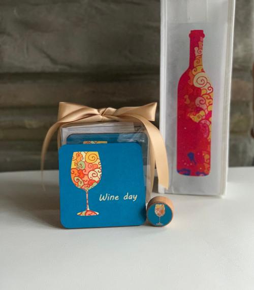 Vibrant wine coaster, wine bottle stopper, and non-woven wine tote