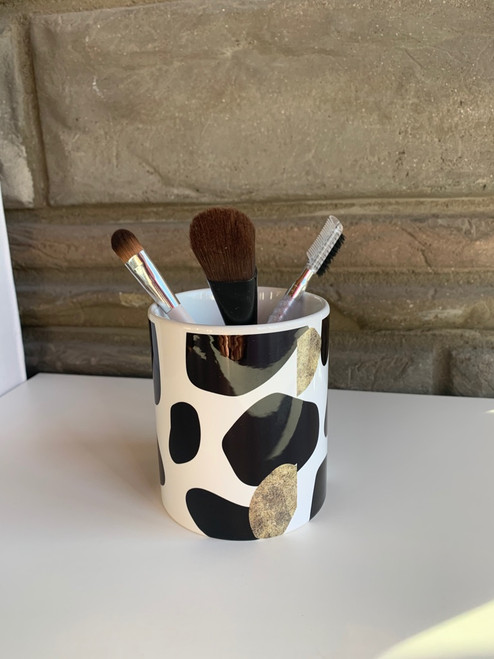 Black and White with gold animal print pen,pencil, brush holder
