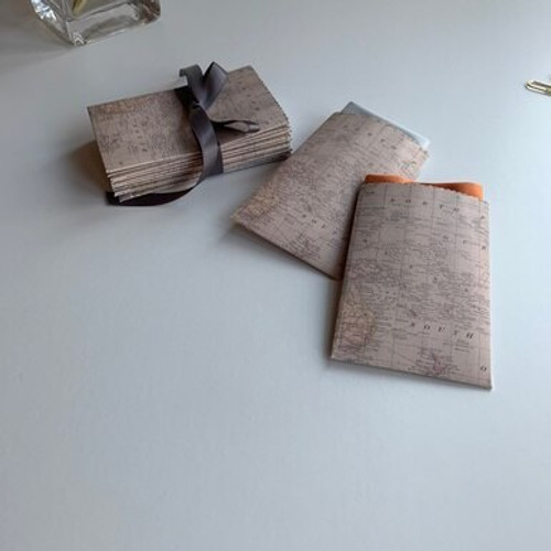 Antique Map Design Handmade Gift Card/ Wedding Favor Paper Pouches