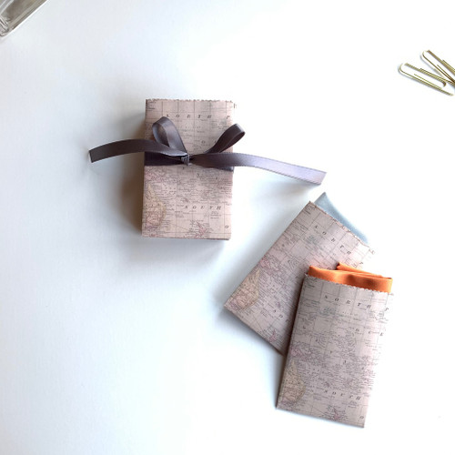 Handmade Paper Gift Pouch with Antique Map design