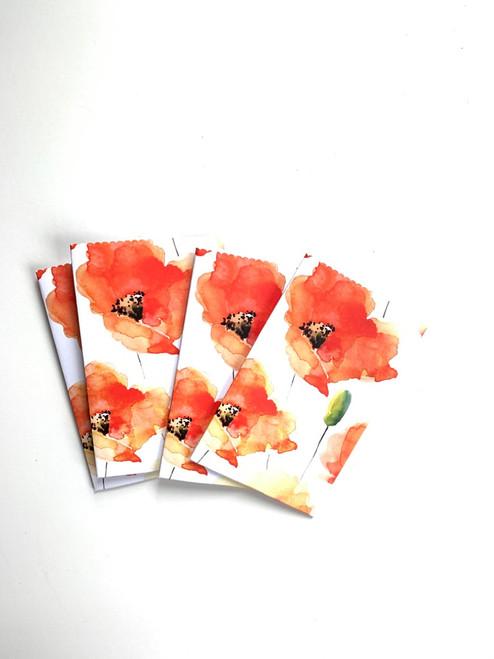 Handmade Poppy Design Paper Gift Pouch