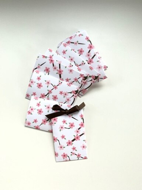Cherry Blossom Design Handmade Gift Card/ Wedding Favor Paper Pouches