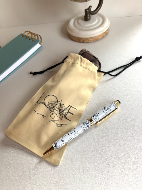 Love Never Fails Gold Sunglasses Pouch with matching Ballpoint Stylus Pen