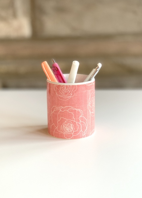 Coral Floral Ceramic pen cup