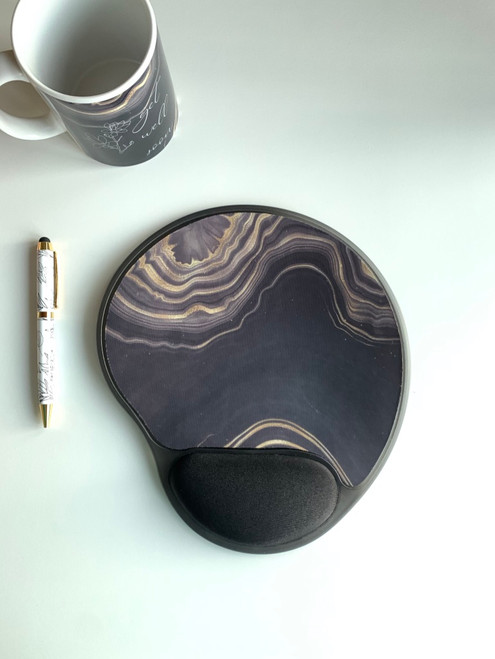 purple agate design mouse pad with gel wrist wrest