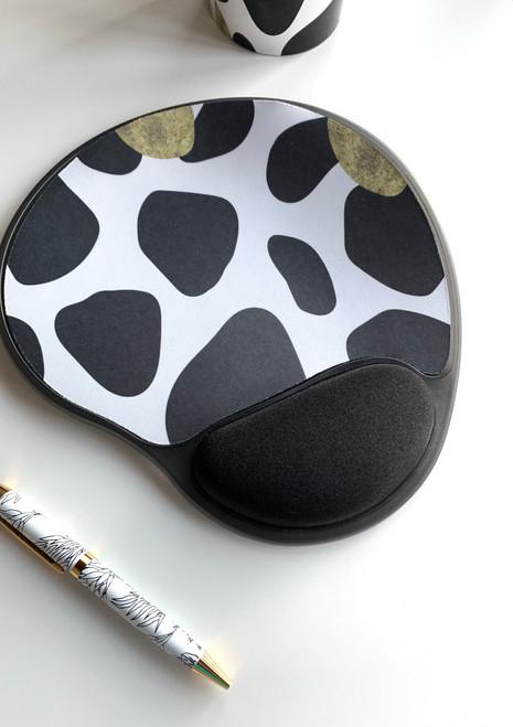 animal print kidney shaped mouse pad