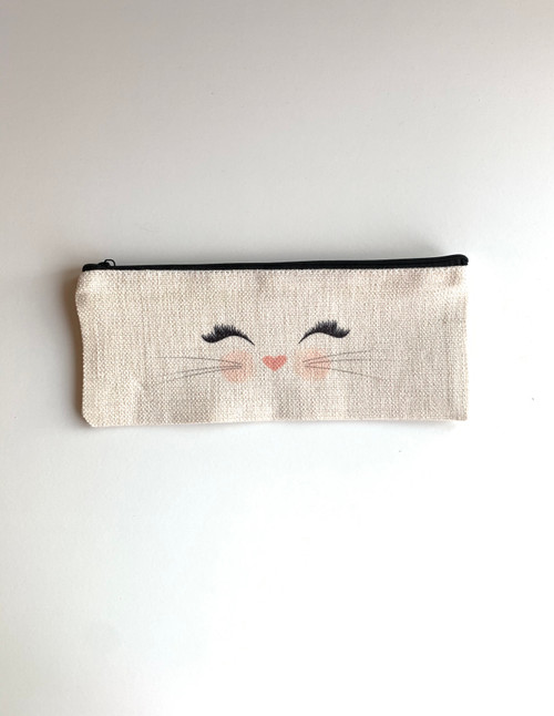 linen zippered pencil case