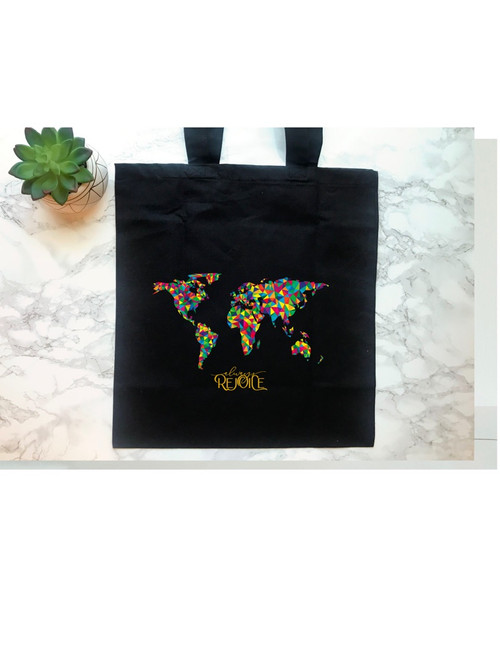 Always Rejoice Convention tote Vivid World Map on black canvas tote