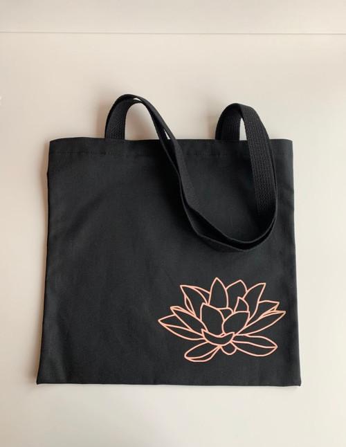 Lotus Black Canvas Tote Bag