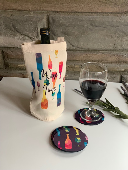 Wine Time coaster and tote gift set