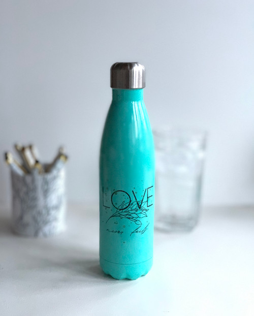 Love Never Fails Water Bottle Mint Green