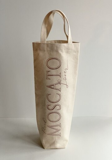 Pink Moscato Lover Wine Tote - Natural Canvas
