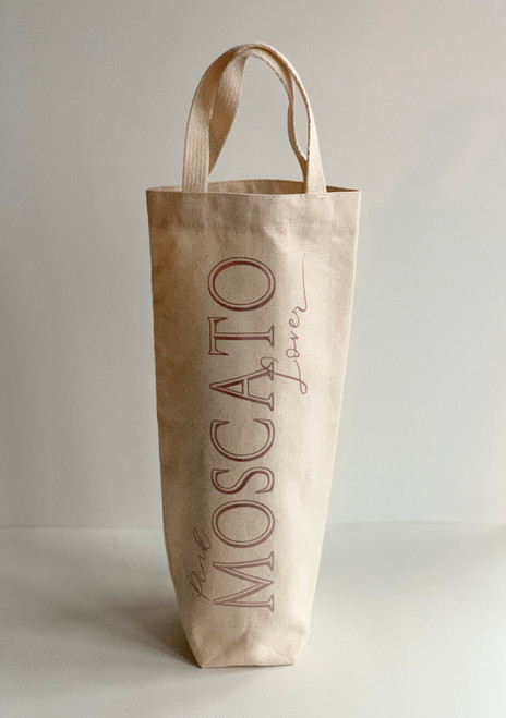 Moscato Lover wine tote in natural canvas