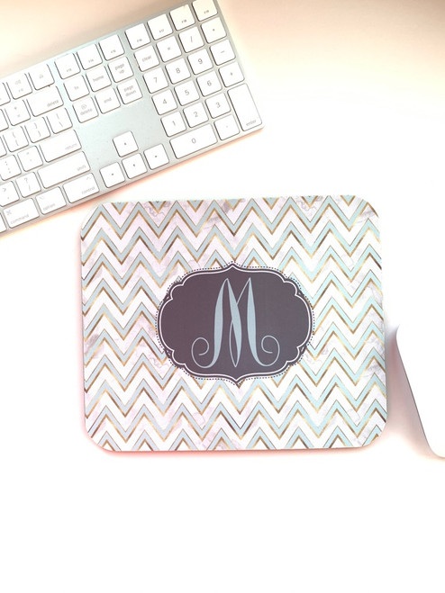 Clearance! Chevron Mint and Gold Monogram Mousepad- M