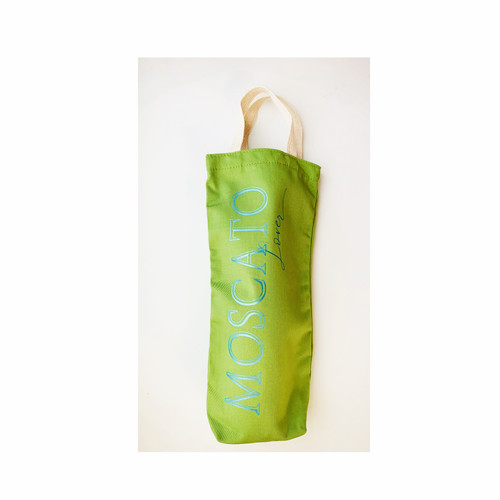 Moscato Lover Wine Tote - Green Canvas