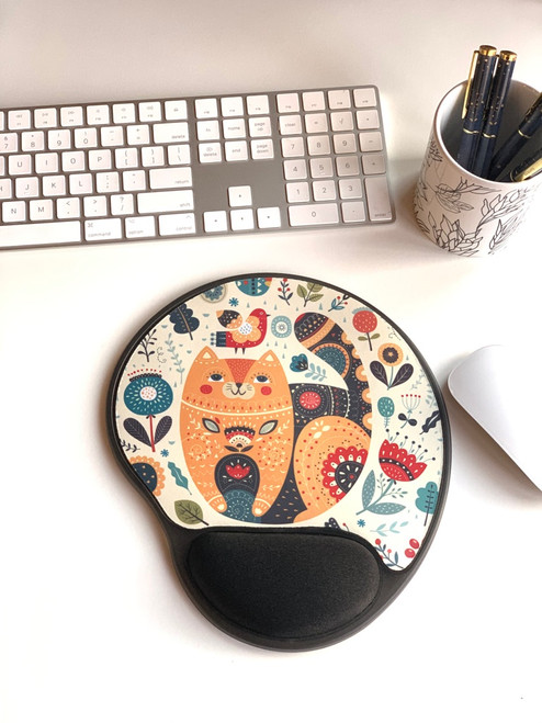 Cat and Floral Mouse Pad With Gel Wrist Support