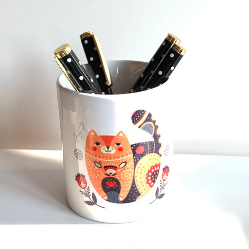 Cat and Floral Pen/Brush Holder