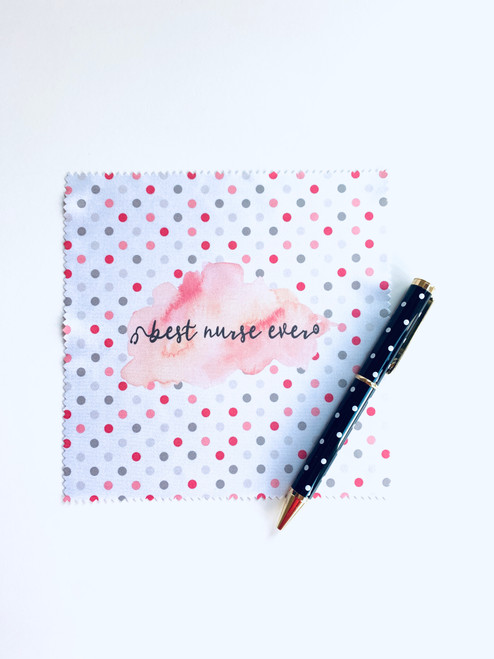 Best Nurse Ever Pink Dots Microfiber Cloth and Pen Set