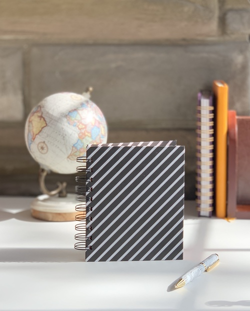 Mini Black and White Striped Handmade Notebook