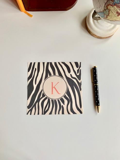 Zebra Print Monogram Microfiber Cloth