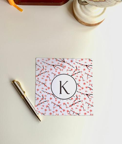 Pink Cherry Blossom Monogram Microfiber Cloth