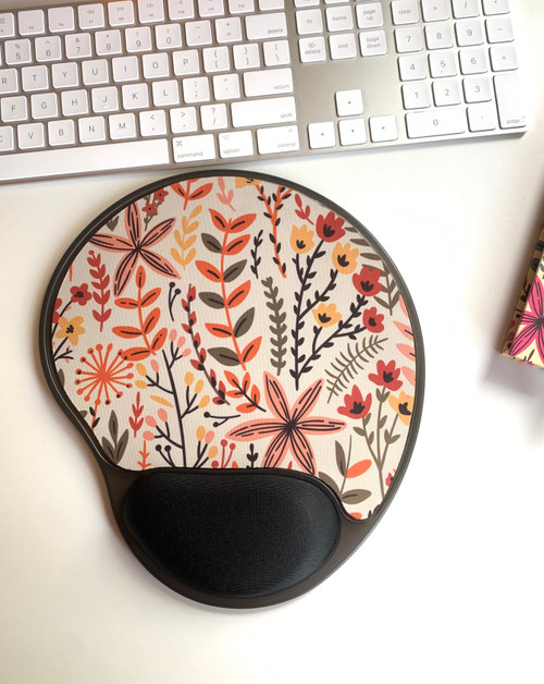 Yellow  Meadows Wildflower Mouse Pad With Gel Wrist Support