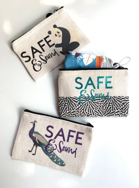 Safe and Sound Small Linen Zippered Case