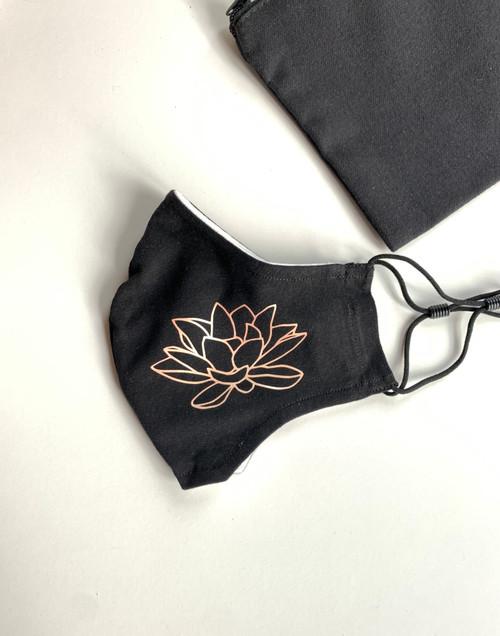 Black Cotton Washable Face Masks - Peach Lotus