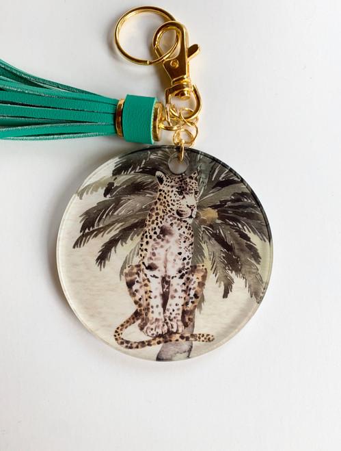 Serengeti Leopard and Wild Palm Key Chain