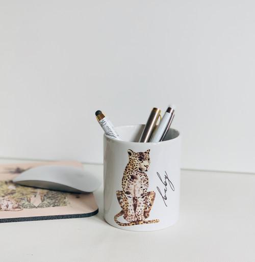 Leopard Ceramic Pen/Brush Holder